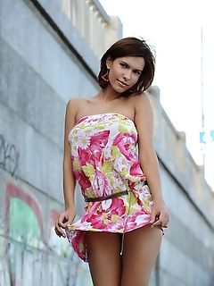 Suzanna a suzanna a sensually poses outdoors as she strips her beautiful dress.