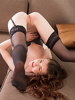 Emily bloom emily bloom shows off her delectable, creamy body as she strips on the couch.