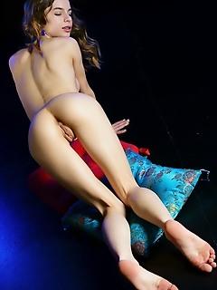 Debora a debora a flaunts her tight body as she strips in the studio.