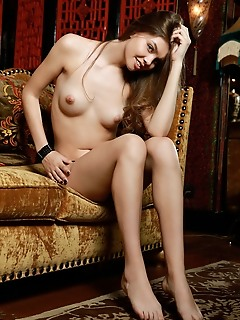 Tammi lee tammi lee flaunts her small tits and shaved pussy on the couch.