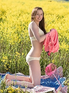 Sweet teen in pink outfit