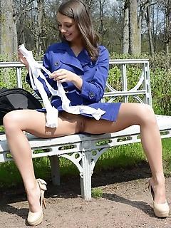 Brunette in stockings