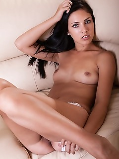 Kantata kantata takes off her matching white lingerie to shows off her puffy breasts and shaved pussy