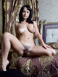 Relaxed and confident cutie in wide open poses.